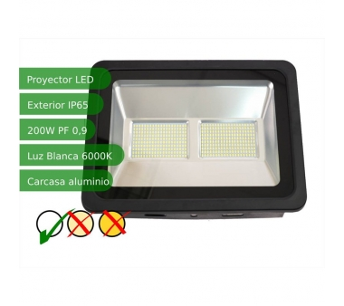 PROYECTOR LED SLIM 200W EXTERIOR NEGRO