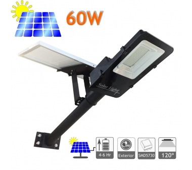 FAROLA SOLAR 60W PANEL ORIENTABLE CON BATERÍA DE LITIO