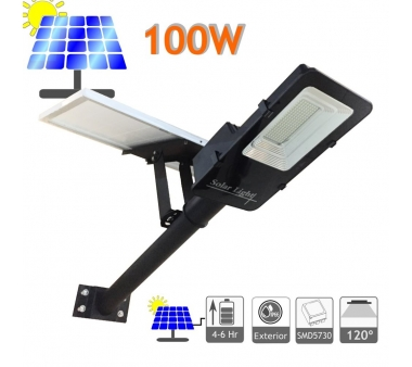 FAROLA SOLAR 100W PANEL ORIENTABLE Y BATERÍA DE LITIO
