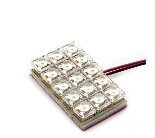 PLACA DE 15 LEDS OJO DE PEZ 25 X 40MM BASES T10/BA9S/211