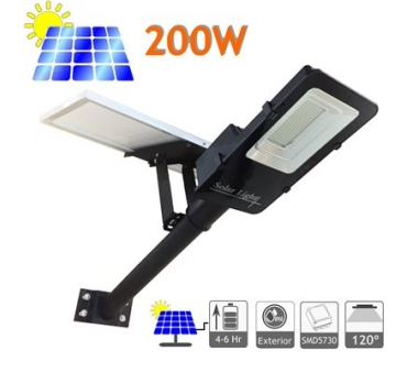 FAROLA SOLAR 200W PANEL ORIENTABLE Y BATERÍA DE LITIO